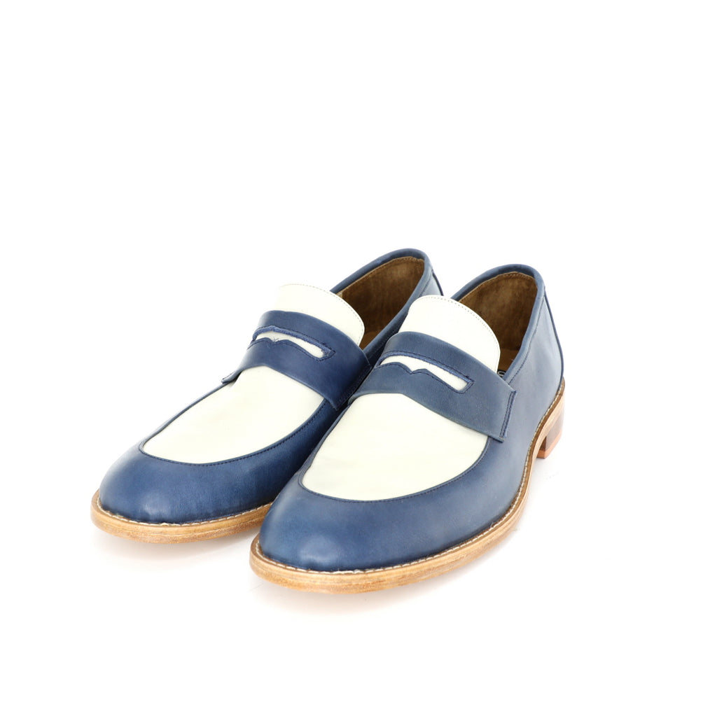 Penny Loafer - Beige & Blue