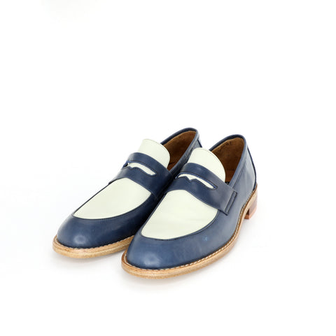 Penny Loafer - Blue & Beige