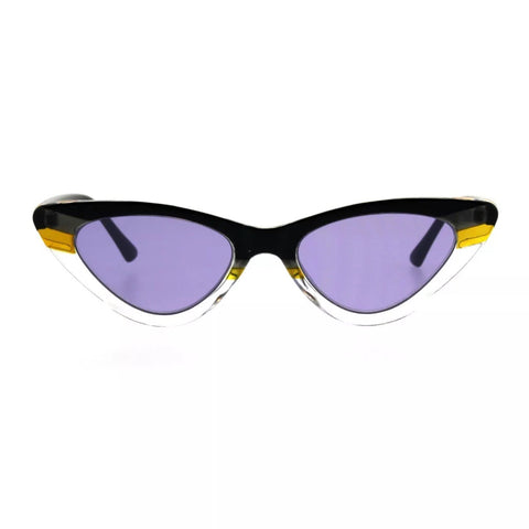 Women's skinny cat eye sunglasses - Black- Purple