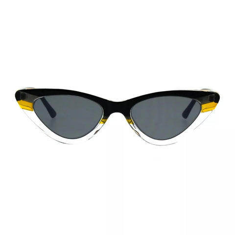 Women's skinny cat eye sunglasses - Black