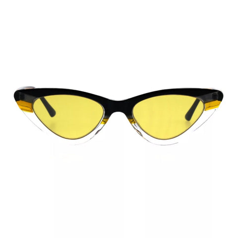 Women's skinny cat eye sunglasses - Yellow