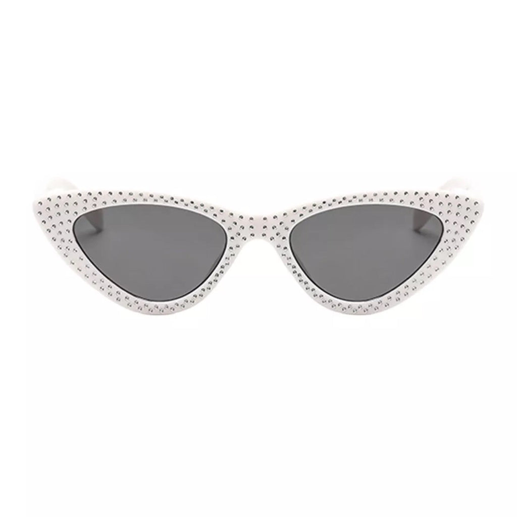 White studded cat eye sunglasses