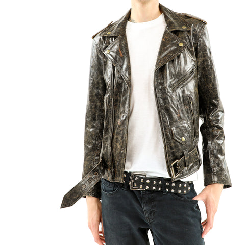 Men's Cracked Brown Leather Biker Jacket