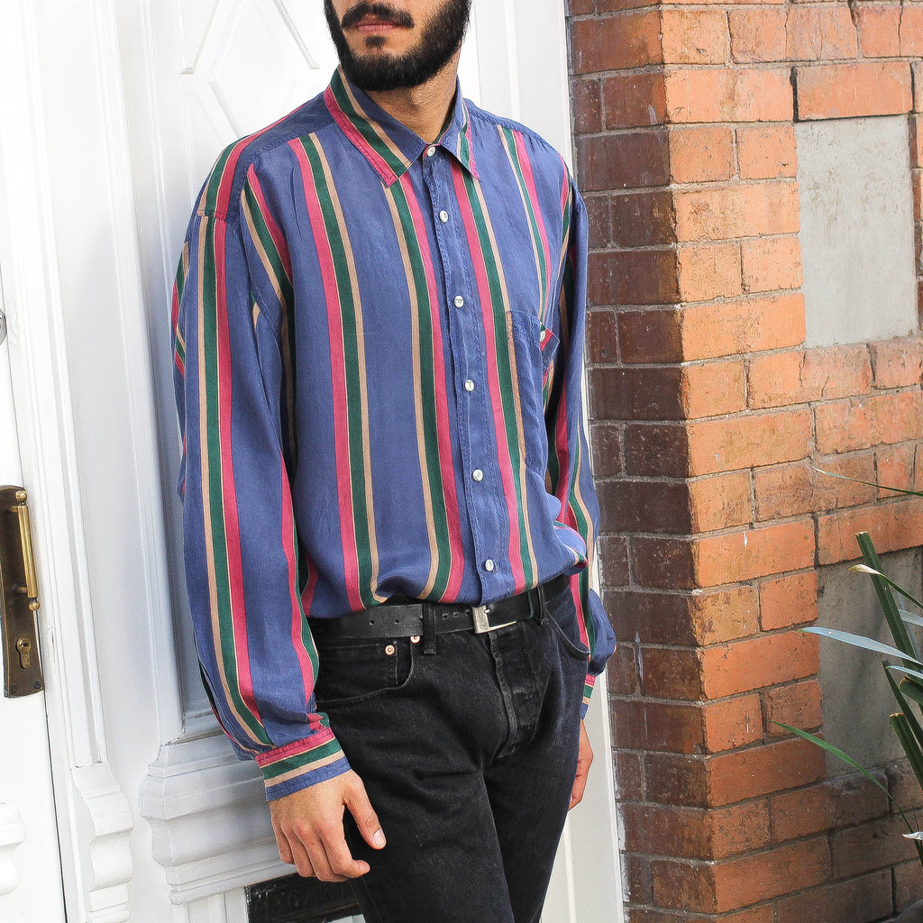 Multicolor Stripes Silk Shirt