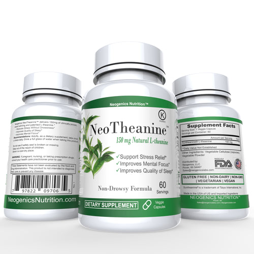 100% Pure Suntheanine® Patented L-Theanine 150mg | 60 Veggie Caps - Neogenics