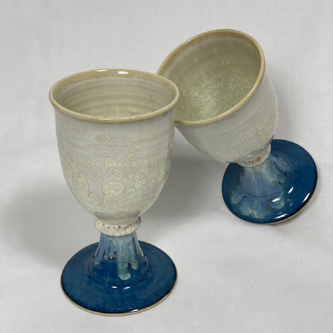 Pair of Goblets with a Sky Blue Base and Cloudy Brims
