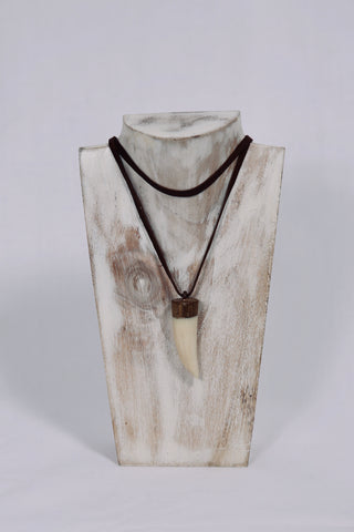 Ngwenya - plain crocodile tooth with leather necklace