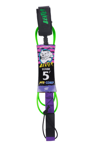 Beater Pro Comp 5FT Leash Lime/Purple