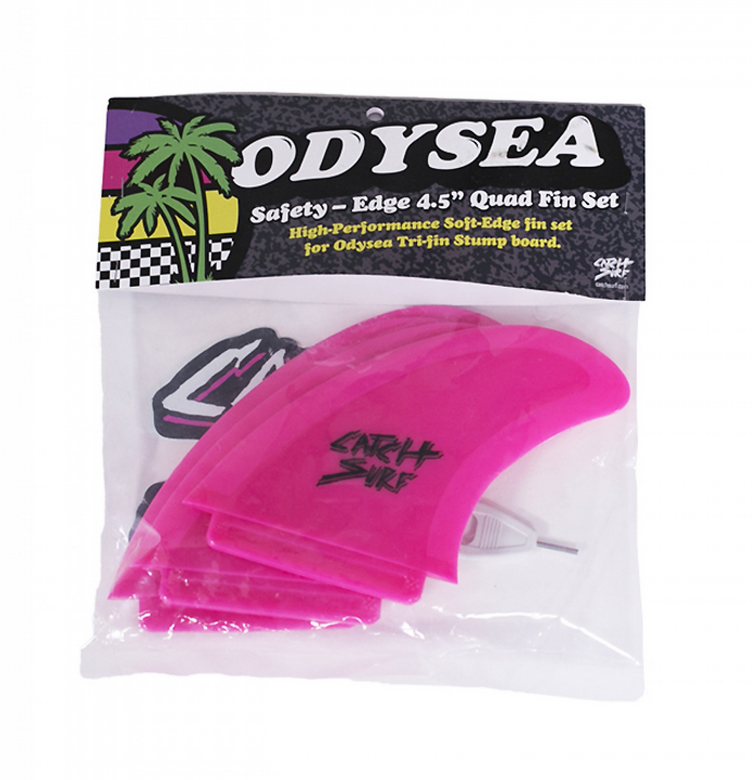Catch Surf Odysea Safety Edge Quad Fin Set in Pink DriftingThru.com