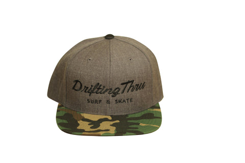 Drifting Thru Snapback Hat  Gray / Camo / Black