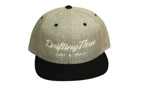 Drifting Thru Snapback Hat Heather Gray / White