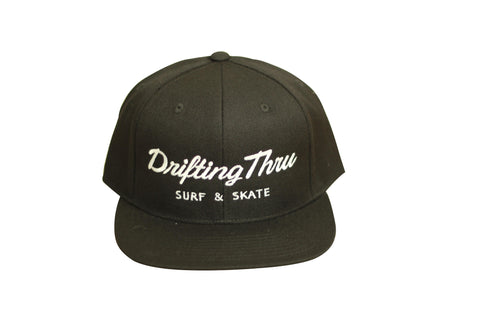 Drifting Thru Snapback Hat Navy Blue / White