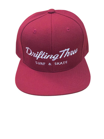 Drifting Thru Snapback Hat Marroon / White