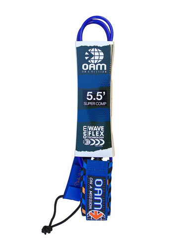 OAM On A Mission 5.5' Comp Surf Leash Blue Herringbone