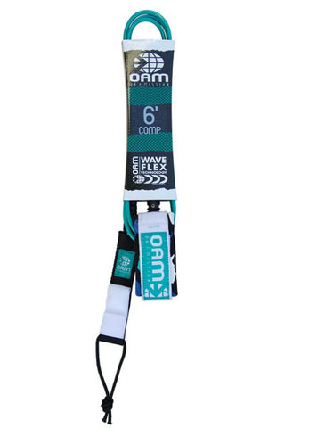 OAM On A Mission 6' Comp Surf Leash Teal Fishes