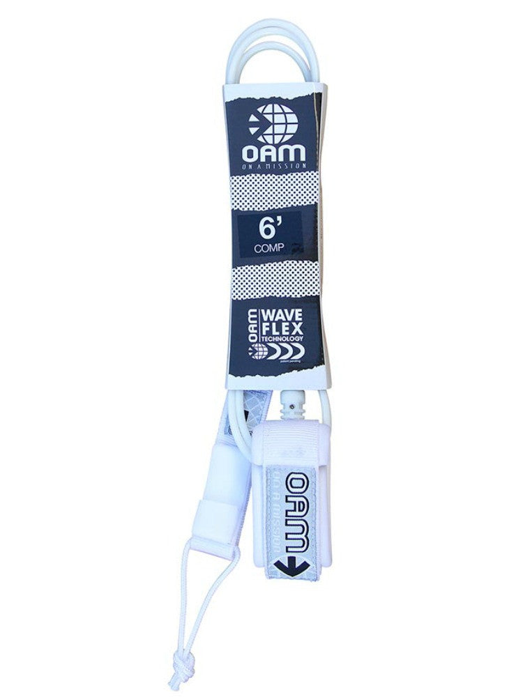 OAM On A Mission 6' Comp Surf Leash White