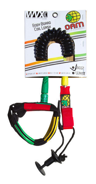 On A Mission Bodyboard Bicep Leash in Rasta