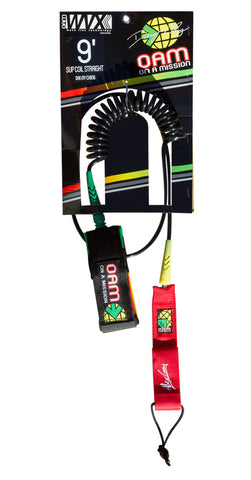 OAM On A Mission SUP Stand Up Paddle Coil 9' Straight Rasta Leash
