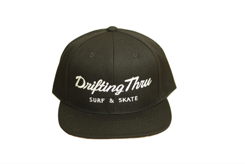 Drifting Thru Snapback Hat Black w/White