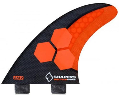 Shapers Fins AM2 Carbon Stealth FCS Thruster Fin Set