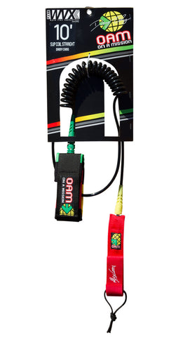 OAM On A Mission SUP Coil 10' Straight Danny Ching Rasta Leash