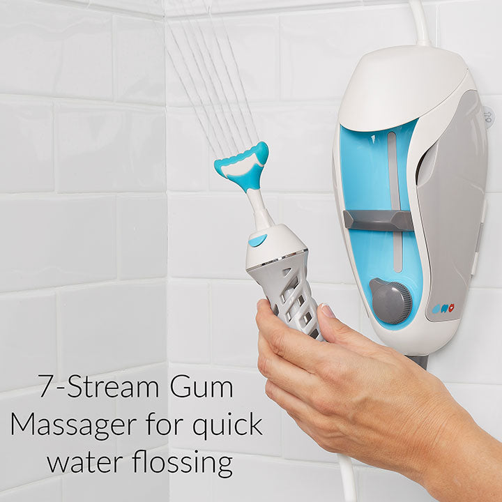 Seven stream gum massager for cleaning teeth and gum