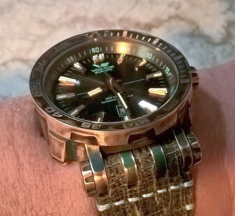 Vostok Europe Energia Bronze Tritium Dive Watch with side of watch case showing