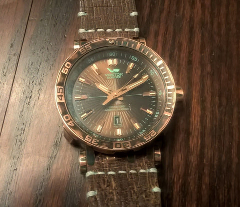 Vostok Europe Energia Bronze Tritium Dive Watch dial facing up
