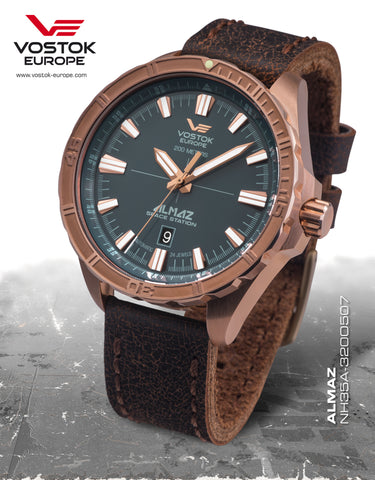 Vostok-Europe Almaz Automatic Leather Strap NH35/320O507 - Russia2all
