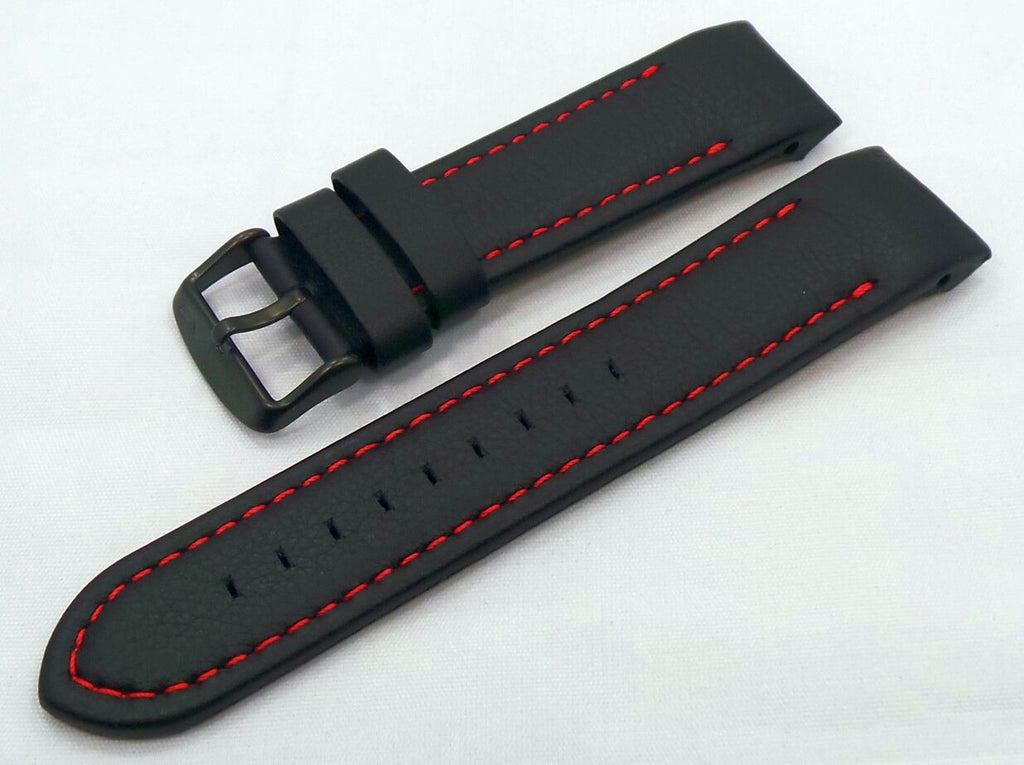 Vostok Europe Almaz Leather Strap 22mm Black/Red-Alm.22.L.B.Bk.R - Russia2all
