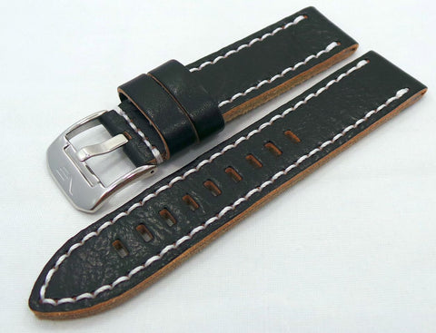 Vostok Europe Almaz Leather Strap 22mm Black/White-Alm.22.L.S.Bk.W - Russia2all