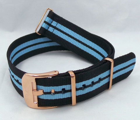 Vostok Europe Almaz NATO Ballistic Nylon Strap 22mm Black/Blue-Alm.22.N.R.Bk.Bu - Russia2all