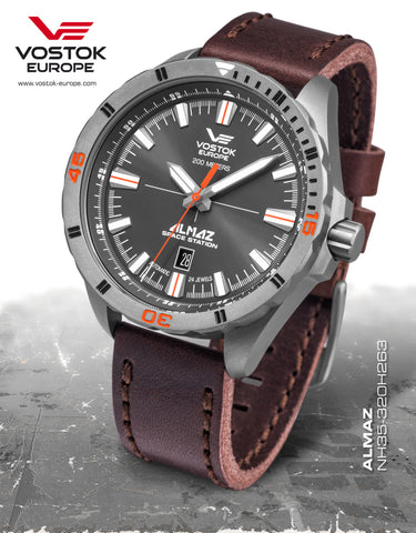 Vostok-Europe Almaz Titanium Automatic Leather Strap NH35A/320H263 - Russia2all