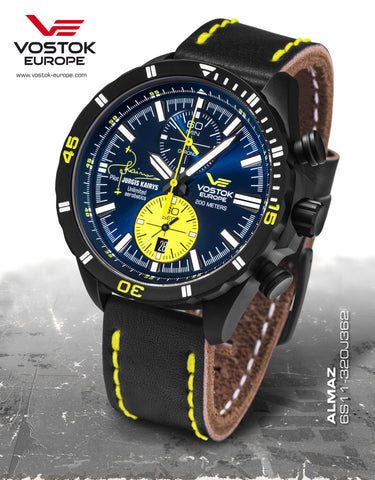 Vostok-Europe Almaz Jurgis Kairys Titanium Chronograph Leather Strap 6S11/320J362 - Russia2all