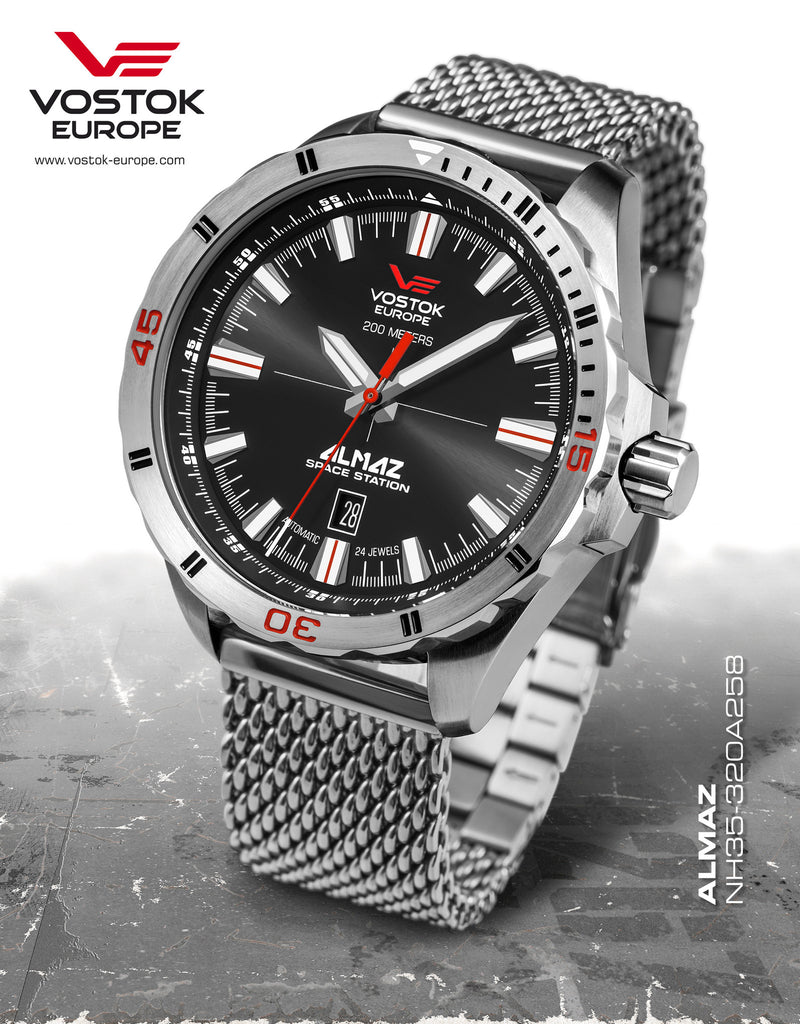 Vostok-Europe Almaz Automatic Mesh Bracelet NH35A/320A258B - Russia2all