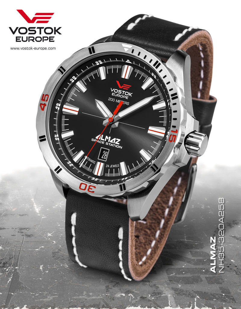 Vostok-Europe Almaz Automatic Leather Strap NH35A/320A258 - Russia2all