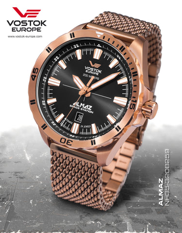 Vostok-Europe Almaz Automatic Mesh Bracelet NH35A/320B259B - Russia2all