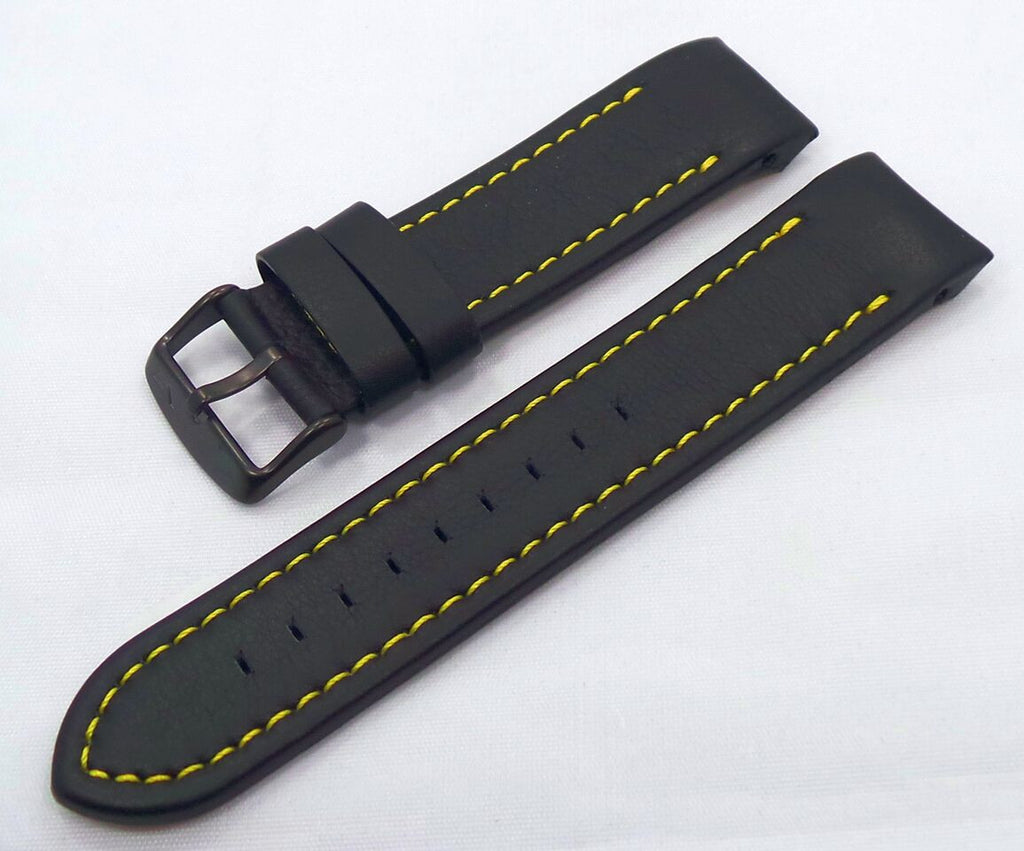 Vostok Europe Anchar Leather Strap 24mm Black/Yellow-Anc.24.L.B.Bk.Y - Russia2all