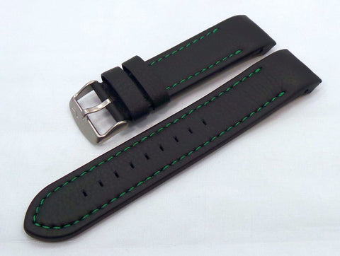 Vostok Europe Anchar Leather Strap 24mm Black/Green-Anc.24.L.M.Bk.G - Russia2all