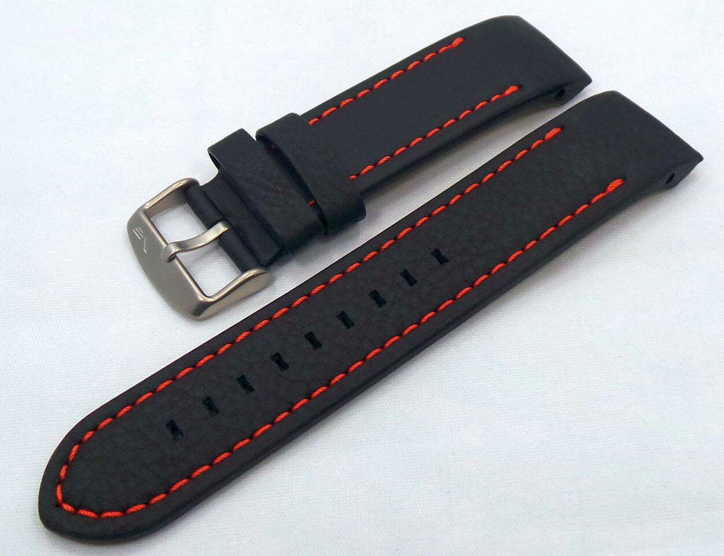 Vostok Europe Anchar Leather Strap 24mm Black/Orange-Anc.24.L.M.Bk.O - Russia2all