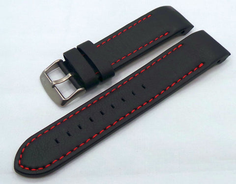 Vostok Europe Anchar Leather Strap 24mm Black/Red-Anc.24.L.M.Bk.R - Russia2all