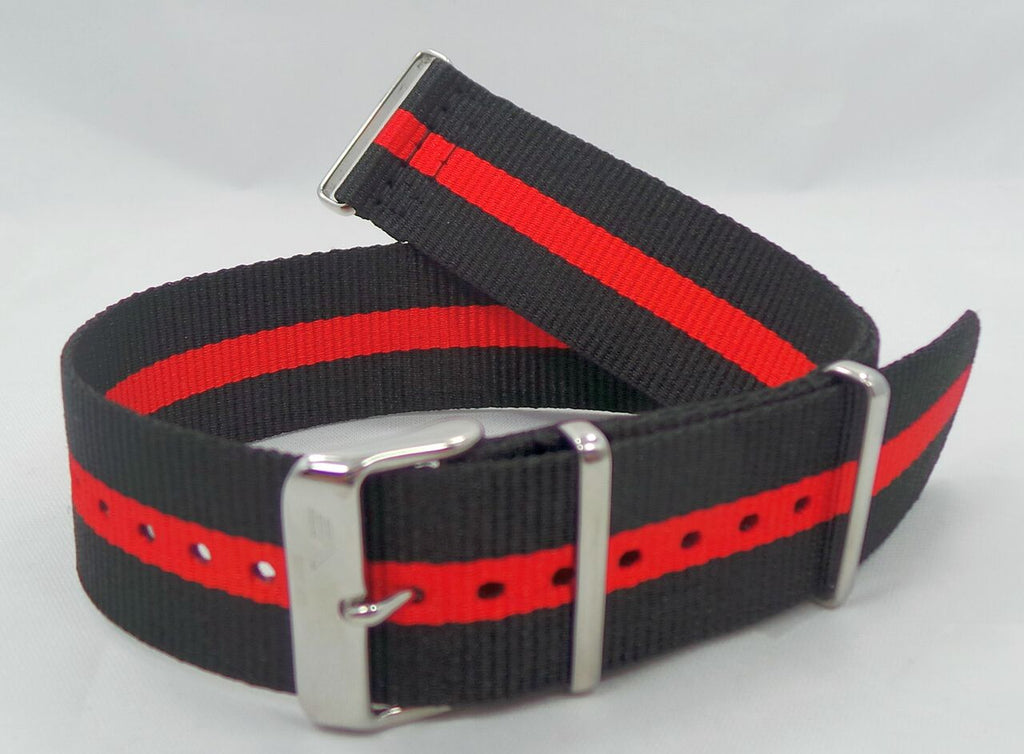 Vostok Europe Anchar NATO Ballistic Nylon Strap 24mm Black/Red-Anc.24.N.S.Bk.R - Russia2all