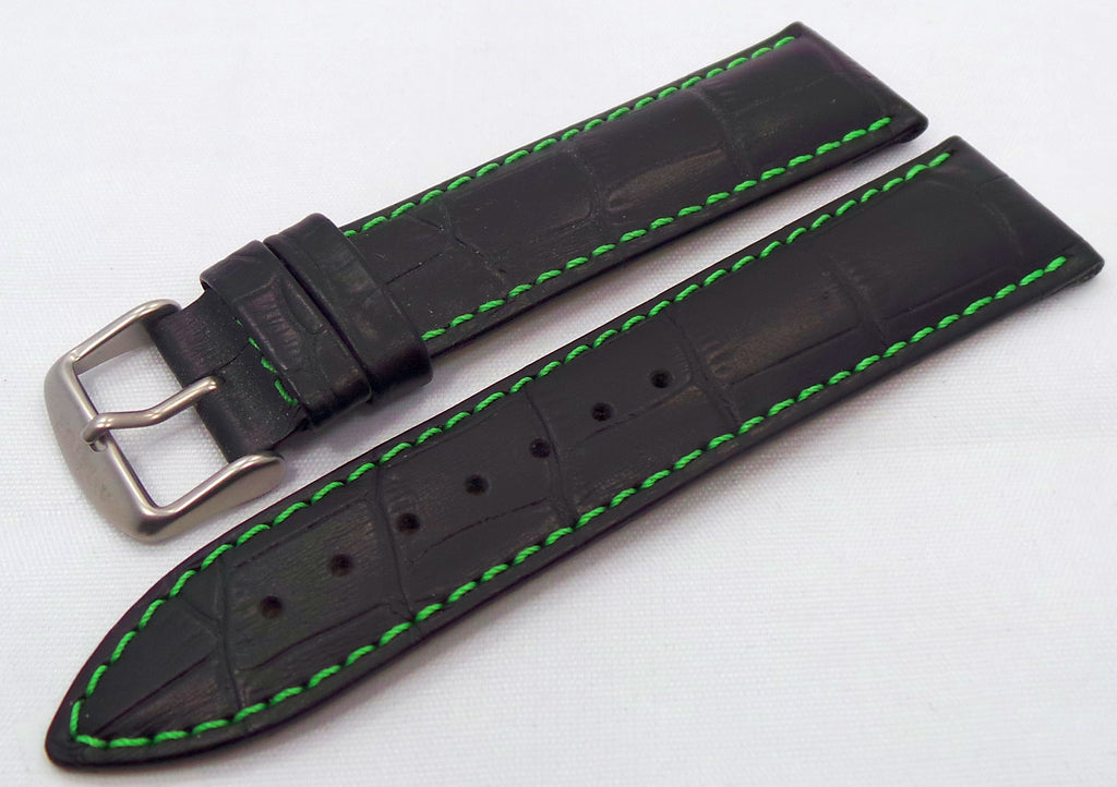 Aviator Leather Strap 22mm Black/Green-Avi.20.L.M.Bk.G - Russia2all