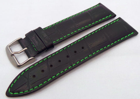 Aviator Leather Strap 22mm Black/Green-Avi.20.L.M.Bk.G Default + Aviator Bracelet 22mm Matte-Polished Stainless Steel-Avi.22.B.S