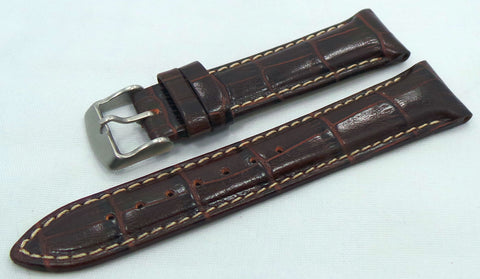 Buran Leather Strap 20mm Brown/White-Bur.20.L.M.Br.W - Russia2all