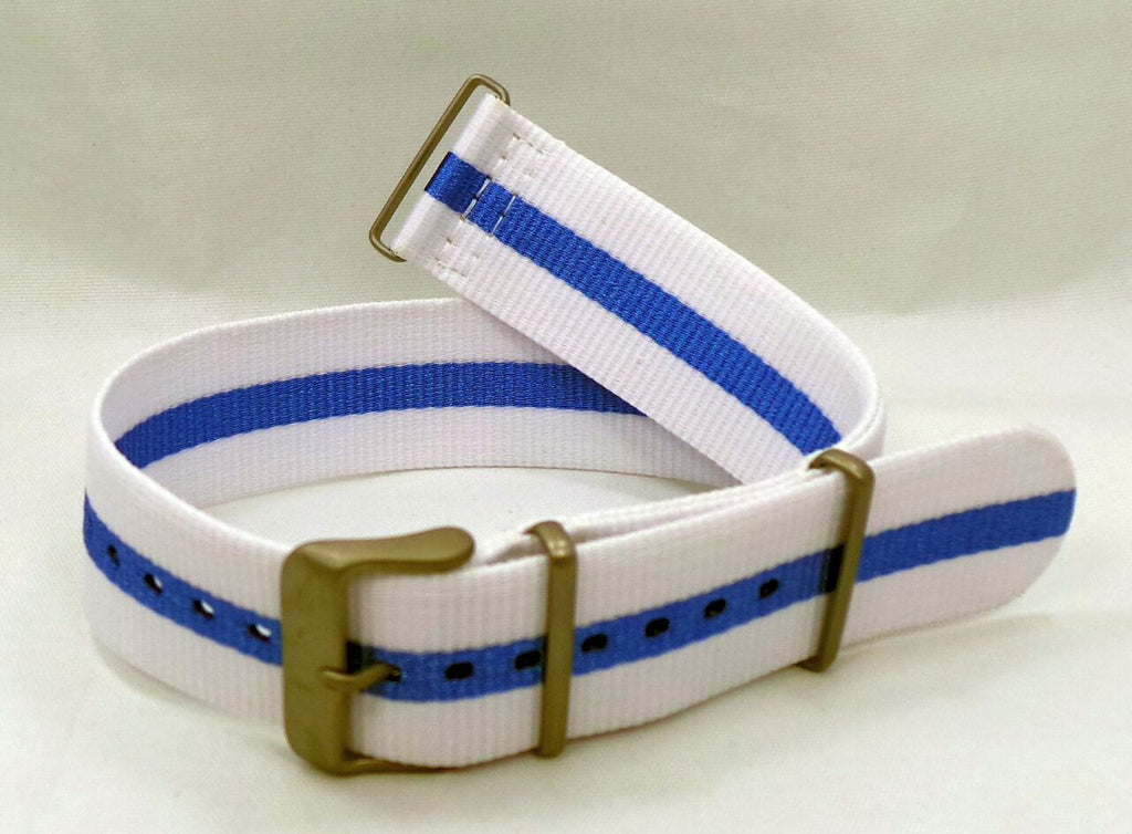Vostok Europe Expedition North Pole NATO Ballistic Nylon Strap 24mm White/Blue-Exp.24.N.M.W.Bu - Russia2all