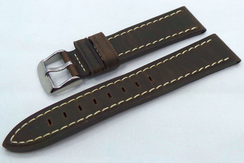Generic Leather Strap 18mm Dark Brown/White-Gen.18.L.S.Db.W - Russia2all