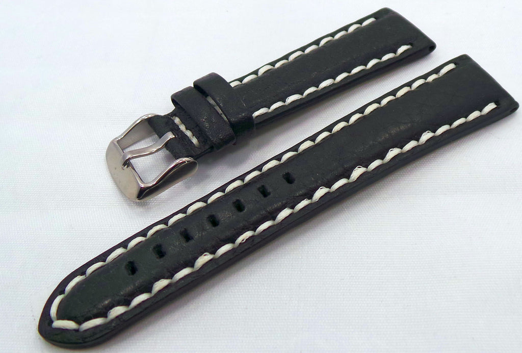 Generic Leather Strap 20mm Brown/White-Gen.20.L.S.Br.W - Russia2all