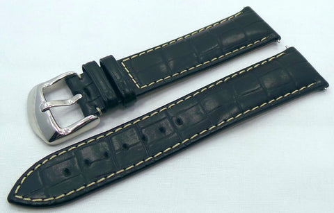 Generic Leather Strap 22mm Black/White-Gen.22.L.S.Bk.W - Russia2all
