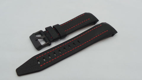 Vostok Europe Lunokhod Leather Strap 25mm Black/Red-Lun.25.L.B.Bk.R - Russia2all